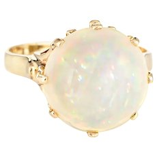 6ct Natural Pinfire Opal Ring 14 Karat Yellow Gold Cocktail Jewelry Sz 7 1/4 Estate