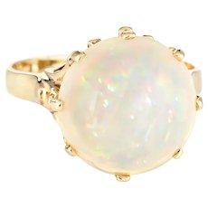 6ct Natural Pinfire Opal Ring 14 Karat Yellow Gold Cocktail Jewelry Sz 7 1/4 Estate