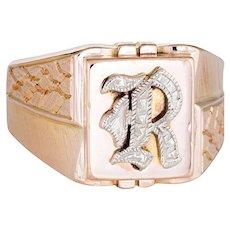Vintage Mens Letter R Signet Ring 10 Karat Rose Gold Sz 9.5 Estate Fine Jewelry