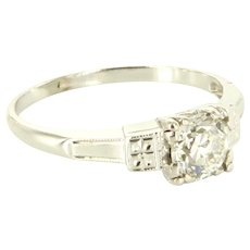 Vintage Art Deco 0.65ct Diamond Engagement Ring 14k White Gold Estate