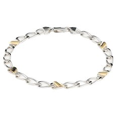 Tiffany & Co Bracelet Vintage Sterling Silver 18 Karat Yellow Gold Curb Link Jewelry