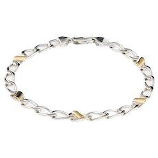 Tiffany & Co Bracelet Vintage Sterling Silver 18 Karat Yellow Gold Curb Link Jewelry