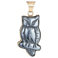 Carved Owl Pendant Hematite Vintage 14 Karat Yellow Gold Estate Fine Jewelry Bird