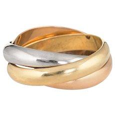 Cartier Trinity Ring 18 Karat Tri Gold Sz 62 US 10 4.5mm XL Signed Jewelry 1997