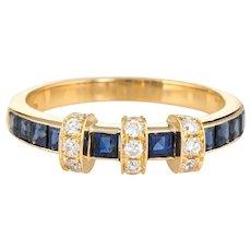 Sapphire Diamond Band Estate 18 Karat Yellow Gold Sz 6.5 Wedding Stacking Jewelry