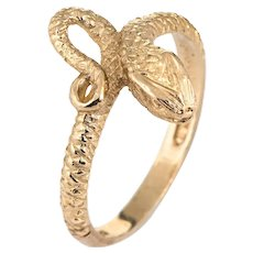 Vintage Snake Ring 9 Karat Yellow Gold Sz 8.5 Serpent Estate Fine Jewelry Bridal