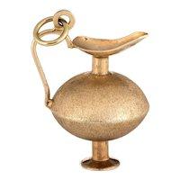 Vintage Genie in a Bottle Charm 14 Karat Yellow Gold Estate Fine Jewelry Pendant Vase