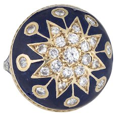 Vintage Victorian Revival Diamond Ring 14 Karat Gold Blue Enamel Round Dome Sz 8.5