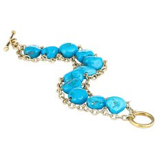 "Estate Turquoise Bracelet 14 Karat Yellow Gold 12mm Beads Vintage Fine Jewelry 7"""