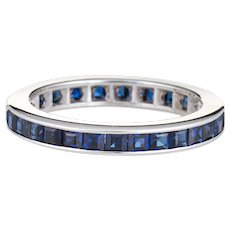 Sapphire Eternity Ring Sz 6 Blue Box Cut 14 Karat White Gold Estate Vintage Jewelry