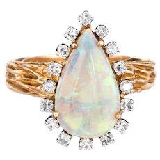Vintage Opal Diamond Ring Pear Shaped 14 Karat Yellow Gold Estate Fine Jewelry Sz 7