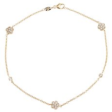 "Diamond Anklet 18 Karat Yellow Gold 9.5"" Estate Fine Jewelry Ankle Bracelet Flower"