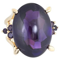 Cabochon Amethyst Cocktail Ring Vintage 18 Karat Yellow Gold Large Oval Jewelry 6.75