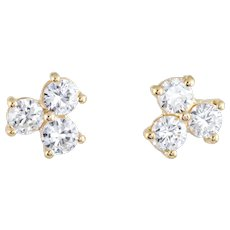 3 Stone Diamond Stud Earrings Estate 18 Karat Yellow Gold Vintage Fine Jewelry