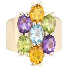 Rainbow Gemstone Ring Estate 14 Karat Yellow Gold Semi Precious Peridot Amethyst