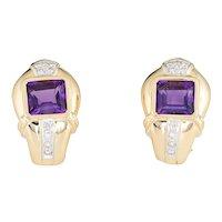 Amethyst Diamond Earrings Vintage 18 Karat Gold Clip On Estate Fine Jewelry Shrimp