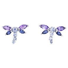 Dragonfly Earrings Amethyst Iolite Estate 14 Karat White Gold Studs Insect Jewelry