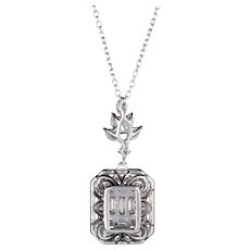 Yessayan Estate Diamond Pendant Mixed Cut 18 Karat White Gold Fine Jewelry