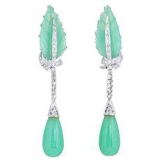Diamond Chrysoprase Earrings Leaf Drop 14 Karat White Gold Estate Vintage Jewelry