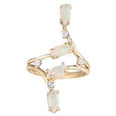 Elongated Opal Diamond Ring Vintage 14 Karat Yellow Gold Estate Jewelry Pinky 4.75