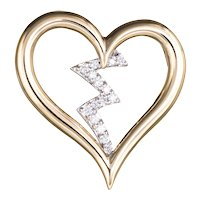 "Diamond Heartbeat Pendant Estate 14 Karat Yellow Gold Heart Jewelry Vintage 1"""
