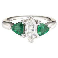 Marquise Diamond Emerald Ring Gemstone Engagement 14 Karat White Gold Estate 4.75