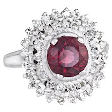 Pink Tourmaline Diamond Ring Vintage Cocktail 18 Karat White Gold Princess Jewelry 9