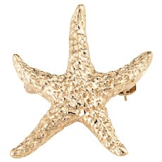 Starfish Brooch Pin Vintage 14 Karat Yellow Gold Textured Estate Fine Marine Jewelry