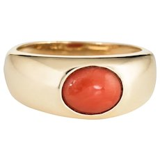 Vintage Coral Signet Ring 14 Karat Yellow Gold Estate Band Jewelry Orange Sz 8.75