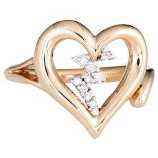 Diamond Heartbeat Ring Estate 14 Karat Yellow Gold Heart Jewelry Vintage Sz 5.5