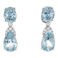 Suarez Aquamarine Diamond Drop Earrings Estate 18 Karat White Gold Fine Jewelry