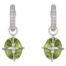 Interchangeable Earrings Peridot Diamond 18 Karat White Gold Estate Fine Jewelry Hoop