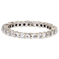Diamond Eternity Ring Sz 5.75 14 Karat White Gold Estate Fine Wedding Band Jewelry