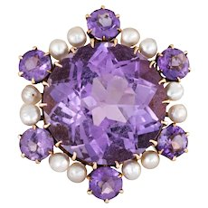 Amethyst Seed Pearl Cocktail Ring Vintage 10 Karat Yellow Gold Estate Fine Jewelry 7