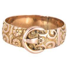 Antique Edwardian Buckle Ring Sz 10 Chased 9 Karat Rose Gold Flower Pattern Vintage