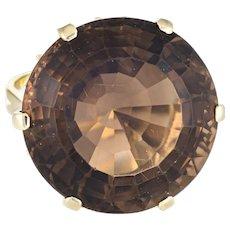 Large 30ct Smoky Quartz Cocktail Ring Vintage 14 Karat Yellow Gold Estate Jewelry