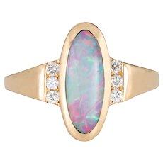 Kabana Opal Inlay Diamond Ring Estate 14 Karat Yellow Gold Oval Mount Sz 5.25 Jewelry