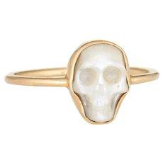 Mother of Pearl Skull Ring 18 Karat Yellow Gold Sz 6 Estate Fine Skeleton Jewelry