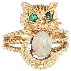 Kitty Cat Ring Opal Emerald Vintage 14 Karat Yellow Gold Fine Animal Jewelry Sz 4