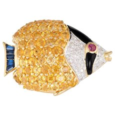 Tropical Fish Pendant Sapphire Diamond Ruby Brooch Estate 18 Karat Exotic Sealife