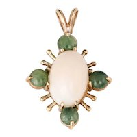 Angel Skin Coral Jade Pendant Vintage 14 Karat Yellow Gold Star Estate Fine Jewelry