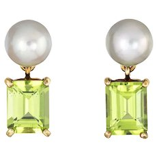 Mish New York Peridot Cultured Pearl Earrings Estate 18 Karat Yellow Gold Drops