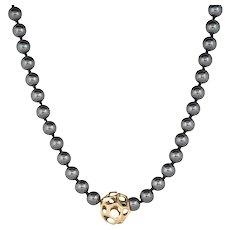 "Tiffany & Co Hematite Necklace Vintage 18 Karat Yellow Gold Long 36"" Estate Jewelry"