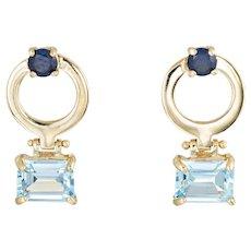 Blue Topaz Sapphire Earrings Vintage 14 Karat Yellow Gold Circle Drops Estate Jewelry