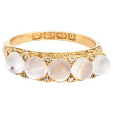 Antique Victorian Moonstone Diamond Band 18 Karat Gold Vintage Ring Sz 6.25 English