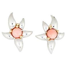 Tiffany & Co Starfish Earrings Vintage 1993 Coral Silver 18 Karat Yellow Gold Jewelry