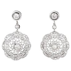 1.40ct Diamond Filigree Drop Earrings Vintage 18 Karat White Gold Estate Jewelry