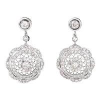 1.40ct Diamond Filigree Drop Earrings Vintage 18 Karat White Gold Fine Jewelry