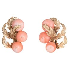 Vintage Coral Earrings 14 Karat Yellow Gold Clip On Leaf Design Estate Fine Jewelry
