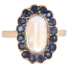 Rainbow Blue Moonstone Sapphire Ring Vintage 14 Karat Gold Oval Cocktail Estate Fine